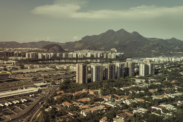 Aerial view of modern Brazilian city , Barra da Tijuca