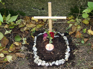 Little animal grave with candle