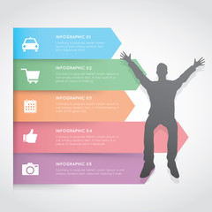 Infographic color label with businessman