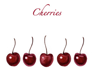 Watercolor cherries isolated.