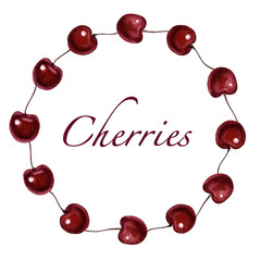 Round frame border with cherry. Cherries isolated. Frame border made from berries.