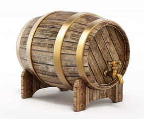 Wooden barrel with tap