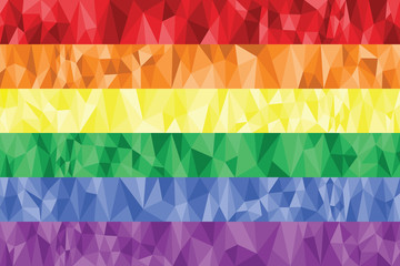 Gay and Lesbian rainbow flag in poly art
