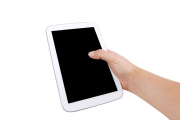 Hand hold a tablet, isolated background