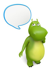 3d cartoon animal with speech bubbles. 3d image. Isolated white background.
