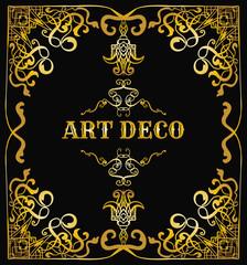 art deco border. Retro vector illustration  template. Vintage wedding invitation card
