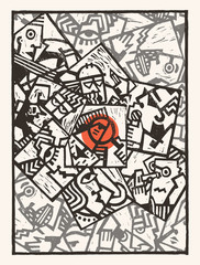 Background- linocut abstract characters