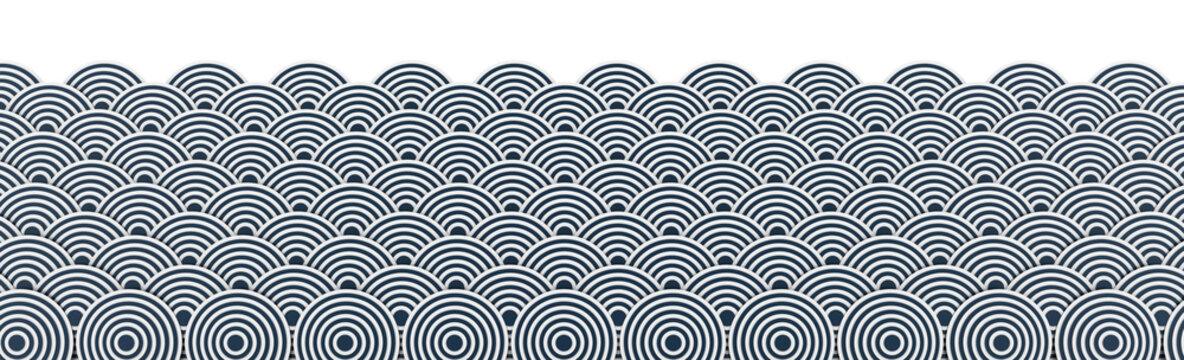 Japanese ocean background; 3d illustration graphics, white background.