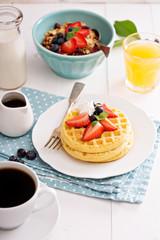 Breakfast waffles with fresh berries