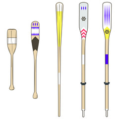 oars, various types of wooden oars with various colors