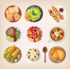Mexican street, restaraunt or homemade food icons for ethnic menu