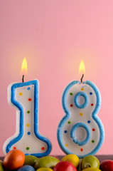 Birthday candles with the number eighteen