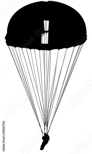 Parachutiste militaire silhouette noire sur fond blanc - Dessin parachutiste ...