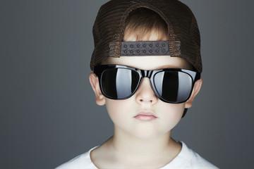 little boy.Hip-Hop Style.fashion children.handsome in sunglasses