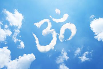 Om symbol clouds shaped on sky.