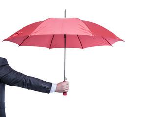 Umbrella in hand.