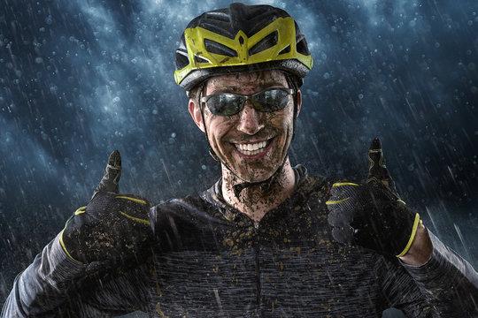 Mountainbiker loves the Rain