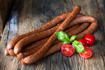Traditional food. Smoked sausage.