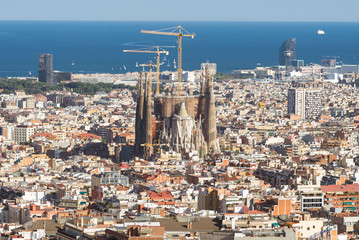 Top view of the construction site Sagrada Familia, the famous building from Antoni Gaudi. The famous Cathedral in the Barcelona district Eixample, is under construction since 1882