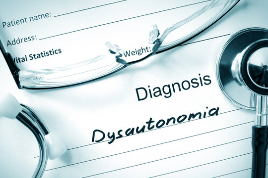 Diagnostic form with diagnosis Dysautonomia and pills.