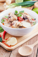 Traditional thai soup Tom Kha Gai - coconut milk with chicken