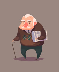 Old man person. Vector character