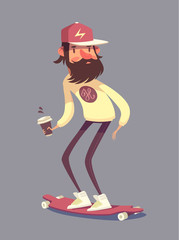 Hipster character on longboard. Isolated vector illustration.