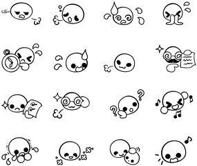 Various cute face icons