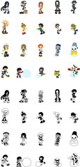 Cute icons of various people