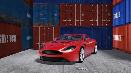 Auto vor dem Transport im Container