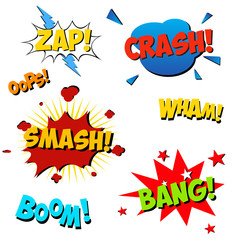Set of color explosion of comic sound effect explosion. Stock Vector Illustration. Comic speech bubbles.