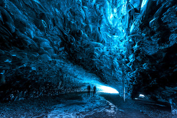 inside ice caves in Iceland