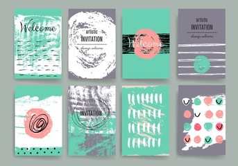 Modern cards design template with grungy rough colorful brush