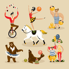 Set of circus characters and animals