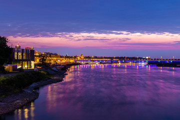 Warschau - Weichsel bei Nacht