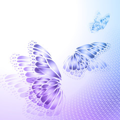 Abstract blue background with butterfly