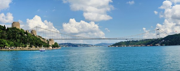 View of the Rumelihisari castle and Fatih Sultan Mehmet Bridge Panoroma sailing Bosphorus.