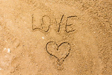 love on the sand in the beach