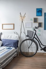 Bicycle in modern bedroom