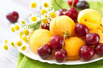 Dish of fresh fruit in summer