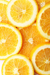 stack of citrus fruits slices. Orange. On white background
