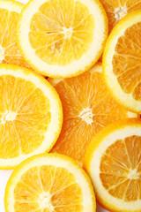 stack of citrus fruits slices. Orange. On white background