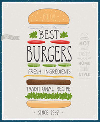 Wall Mural - Best Burgers Poster - hand drawn style.
