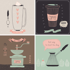 Wall Mural - Coffee cards - Hand drawn style.
