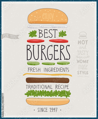 Wall mural Best Burgers Poster - hand drawn style.