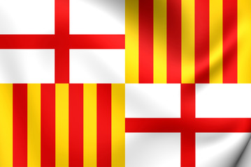 Flag of Barcelona, Spain.