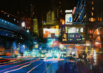 painting of modern urban city at night ,illustration