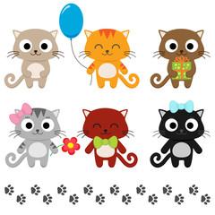 Stylized set of cute cartoon kittens. Vector illustration