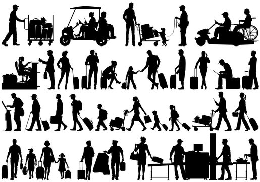 Vector silhouettes of people at airport