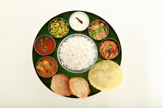 Typical south Indian Thali served in plate